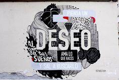 """Vida / Piensa / Ama / BrillaPIENSA UN DESEO Y SAL A BUSCARLO Málaga, España. 2013  Continuación de nuestra serie de murales con tinta negra a la que hemos bautizado como """"Ama lo que haces"""". Tatuajes en la ciudad, mensajes de ánimo para luchar por lo que creemos, por lo que amamos y por esos deseos que merecen ser cumplidos. En esta ocasión como parte de una iniciativa para reactivar, mediante el arte urbano, la zona de Málaga ahora denominada como Soho."""