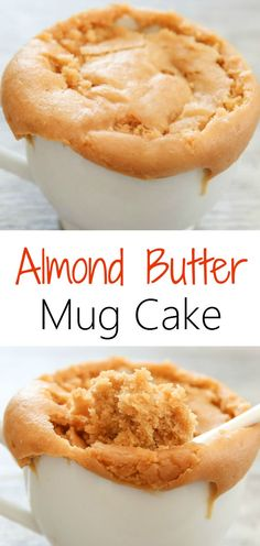 Almond Butter Mug Cake. Creamy, fluffy and ready in 5 minutes! Microwave Cake, Microwave Recipes, Almond Butter Keto, Almond Flour, Almond Milk, Peanut Butter, Low Carb Mug Cakes, Keto Mug Cake, Healthy Desserts