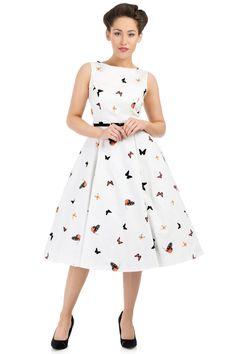 Robe Pin-Up Rétro 50's Rockabilly Hepburn Papillons