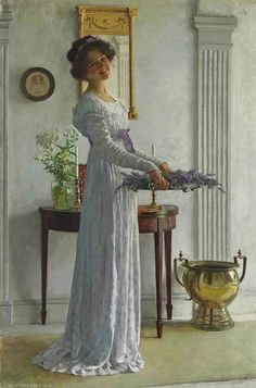 From the woman's hairstyle, this scene was painted during the Edwardian era.