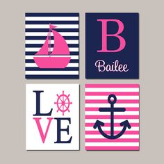 Girl Nursery Art Nautical Nursery Hot Pink Navy Nautical Nursery Wall Art Sailboat Love Anchor Bedroom Pictures Set of 4 Prints Or Canvas by LovelyFaceDesigns on Etsy Sailboat Nursery, Navy Nursery, Nautical Nursery Decor, Nautical Wall Art, Girl Nursery, Bedroom Decor Pictures, Nursery Pictures, Bedroom Ideas, Verona