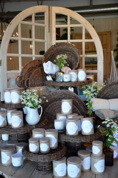 willow baskets and linen