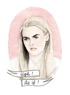 Cher Horowitz from the film Clueless (Alicia Silverstone) watercolour portrait PRINT Alicia by ohgoshCindy, Illustrations Pop, Illustration Art, Steam Punk, Geeks, Cher Horowitz, Fan Art, Watercolor Portraits, Watercolor Print, Grafik Design