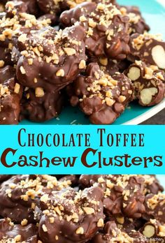 Toffee Cashew ClustersYou can find Chocolate candy and m.Chocolate Toffee Cashew ClustersYou can find Chocolate candy and m. Nut Recipes, Fudge Recipes, Snack Recipes, Dessert Recipes, Easy Recipes, Mini Desserts, Delicious Desserts, Easy Desserts, Recipes
