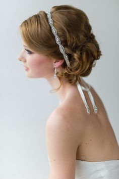 Bridal Ribbon Headband - ANGELIQUE — Powder Blue Bijoux
