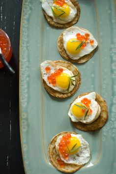 Salmon Roe and Quail Egg Blinis #food #yummy For guide + advice on healthy lifestyle, visit http://www.thatdiary.com/