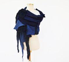 Indigo Hand knited shawl denim blue patchwork by ZOJKAshop on Etsy, $58.00