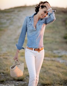 Skinny jeans + denim shirt + belt + watch + bag  Denim cotton leather/suede straw Colors: white + light blue + light brown + beige