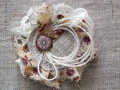 "*Скраповый мир*: МК ""Манжетка с брошкой"" от Hellen Cloth Flowers, Burlap Flowers, Lace Flowers, Fabric Flowers, Art And Craft Flowers, Flower Crafts, Fabric Art, Fabric Crafts, Sewing Crafts"