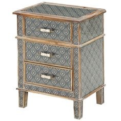 The Freya three drawer locker from Mindy Brownes is inspired by a combination of Spanish Missionary style, indigenous art, and Aztec and Peruvian design. For features – see belowDimensionsWidth: 50cm Depth: 35cm Height: 66cm Features Inspired design... At Home Furniture Store, Furniture Catalog, Small Furniture, 3 Drawer Bedside Table, Bedside Cabinet, Cabinet Inspiration, Furniture Packages, Indigenous Art, Decoration