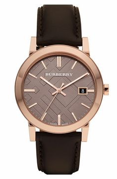 Burberry Check Stamped Round Dial Watch available at #Nordstrom