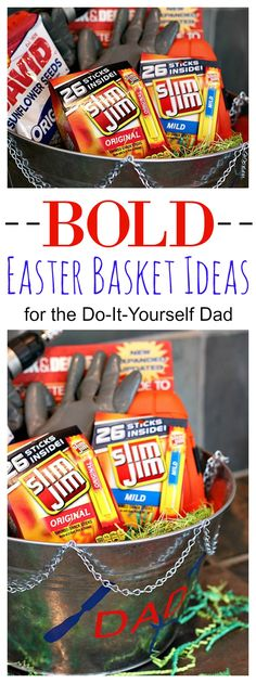 Think Easter baskets are just for kids? Think again! With these Bold Easter Basket ideas featuing Slim Jim, you can fill the guy in your life with delight on Easter morning! #SlimJimBoldBaskets #ad