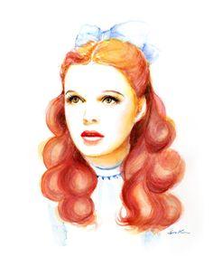 Watercolor portrait  Dorothy Judy Garland by sookimstudio on Etsy