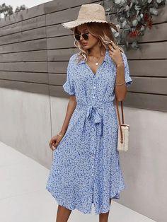 Little Dresses, Blue Dresses, Style Boho, Boho Floral Dress, Ditsy Floral, Boho Summer Dresses, Dress Summer, Vestido Casual, Tie Styles