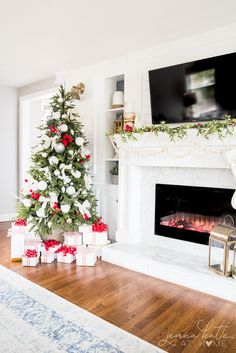Christmas decorating ideas for a mantel with a TV over it