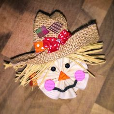 Fall Hair Clip Scarecrow Hair Clip Burlap Hair Bow by SweetSippi