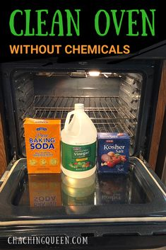DIY Homemade Oven Cleaner recipe<br> Easy step-by-step tutorial on how to your clean oven with vinegar and baking soda using homemade natural cleaners to clean your oven racks, door glass, self-cleaning ovens.