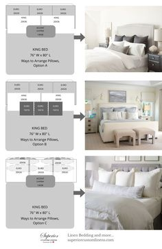 Ways to Arrange Bed Pillows 3 Ways to Arrange Pillows on King size bed. The post Ways to Arrange Bed Pillows – Bedroom appeared first on Bedding Master Bedroom. Camas King Size, Home Bedroom, Bedroom Decor, Bedding Decor, Bedroom Furniture Arrangement, Artwork For Bedroom, Bedroom Wall Art Above Bed, Artwork Above Bed, Bedroom Ideas