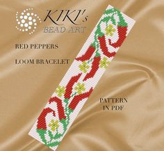Bead loom pattern - Red peppers LOOM bracelet PDF pattern instant download