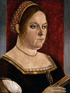 Vittore Carpaccio-Portrait of a Woman Holding a Book 1500-05 Oil on basswood, 43 x 31 cm Art Museum, Denver