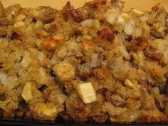 Classic stuffing with apples.  Vegan.   Vegan Dressing for Thansgiving.  My favorite stuffing.  Peaceful Table.