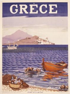 1948 – Littoral of Aegean Sea, published by the G.O, Designed by Panagiotis Tetsis 1948 – Littoral of Aegean Sea, published by the G.O, Designed by Panagiotis Tetsis Old Posters, Beach Posters, Retro Posters, Vintage Travel Posters, Vintage Ads, Vintage Postcards, Mykonos, Greece Design, Greece Pictures