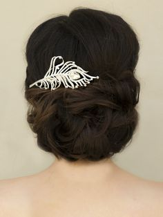 """Hair Comes the Bride - Elegant Rhinestone Feather Bridal Hair Comb ~ """"Piper"""", $42.00 (http://www.haircomesthebride.com/elegant-rhinestone-feather-bridal-hair-comb-piper/)"""