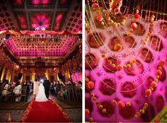 marigold and bead garlands used as backdrop or part of mandap