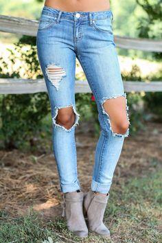 Start Me Up Distressed Skinny Jeans at reddressboutique.com