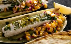 Corn-Husk-Wrapped Grilled Halibut with Charred Corn Salsa - Grilled Seafood Recipes Grilled Halibut, Grilled Seafood, Fish And Seafood, Grilled Tuna, Halibut Recipes, Fish Recipes, Seafood Recipes, Grill Recipes, Chicken Recipes