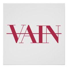 Vain Strikethrough Text Poster - typography gifts unique custom diy