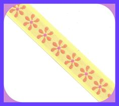 Vintage DAISY Trim 1970's Embroidered Fabric Yellow & Orange BTY by TheMaineCoonCat on Etsy