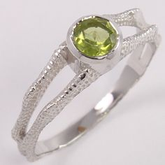 New Natural PERIDOT Faceted Gemstone 925 Sterling Silver Designer Ring Size US 8 #Unbranded