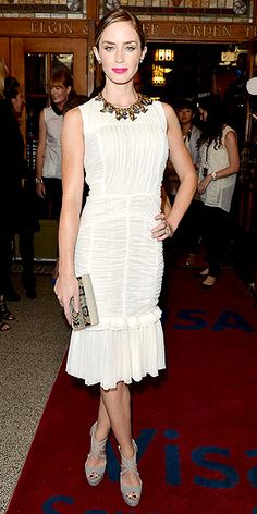 Emily blunt in Tory Burch. This dress is made of reclaimed silk tulle, so cool!