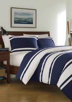 An oversized navy and white horizontal stripe makes a bold statement that will be at home in almost any style environment when you style your space with this outstanding comforter set. Make it modern and minimal by adding solid white or navy sheets, or play up the nautical theme by layering in Poppy & Fritz's Sharks sheeting, emblematic of the brand's preppy heritage.   Twin Comforter Set includes: 1 Duvet: 68-in. x 88-in. 1 Standard Sham: 20-in. x 26-in.