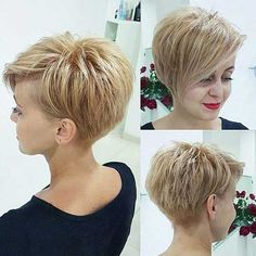 """Best Short Haircuts for Fine Hair: Stacked Pixie Haircut; pixiehaircut """"Your hair can become thinner aft Cute Short Haircuts, Haircuts For Fine Hair, Haircut Short, Short Asymetrical Haircuts, Pixie Haircut Fine Hair, Pixie Long Bangs, Asymmetrical Pixie Cuts, Hairstyle Short, Evening Hairstyles"""