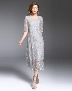 Light Grey Silk Floral Embroidered Shift Midi Dress, Light gray, DAIPYA - VIPme