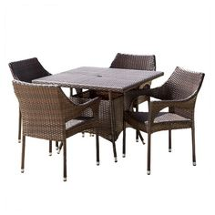 Christopher Knight Home Arden 5-piece Wicker Patio Dining Set