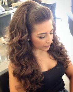 Prom Hair Medium, Updos For Medium Length Hair, Wedding Hairstyles For Medium Hair, Long Hair Wedding Styles, Wedding Hair Down, Wedding Hair And Makeup, Medium Hair Styles, High Ponytail Hairstyles, Front Hair Styles