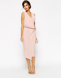 ASOS Wedding Bridesmaid dress blush pink baby pink nude Wrap Drape Midi Dress
