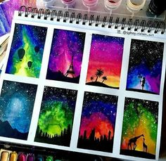 aquarellmalerei-aquarellmalen-aquarellmalerei/ - The world's most private search engine Oil Pastel Drawings, Oil Pastel Art, Art Drawings, Oil Pastels, Galaxy Painting, Galaxy Art, Arte Sketchbook, Silhouette Painting, Painting & Drawing