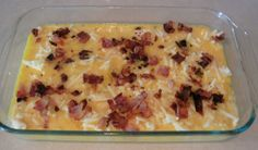 Breakfast casserole.  layer crescent rolls on the bottom of greased baking pan, then hash browns, followed by eggs crumbled bacon and cheese.