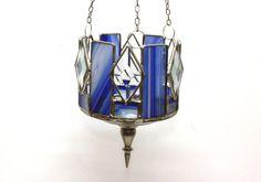 Windlichter - blau Tiffany Glas Lampe Windlicht Leuchte Ampel - ein Designerstück von Matthias-Lehmann bei DaWanda