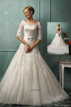 Wholesale Wedding Dresses - Buy 2014 Bridefashion Luxurious Sheer Neck 3/4 Long Sleeves A-line Bridal Gowns Colvered Button Floor-Length Backless Wedding Dresses, $137.79 | DHgate