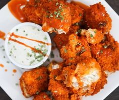 """Cauliflower Buffalo Wings! These are amazing! Get the recipe on my YouTube channel High Carb Hannah! Also if you want to join the Lean & Clean challenge for February we have 25% off all our books! Use the code """"ilovemyself"""" ❤️"""