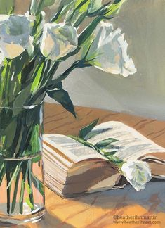 This is a original gouache painting Feeling a bit tired from a very busy month, I decided to wind down and focus on the calming colors of this bouquet of lisianthus flowers and an open aged book. Aesthetic Painting, Aesthetic Art, Pretty Art, Cute Art, Gouche Painting, Renaissance Art, Gouache, Art Inspo, Painting & Drawing
