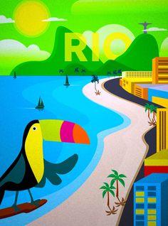 Rio de Janeiro Brazil Toucan South America 2 Travel Advertisement Poster