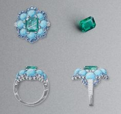 Ancône ring: White gold, round and baguette-cut diamonds, sapphires, turquoise beads, one octogonal-cut emerald of3.28carats (Colombia). © Van Cleef &Arpels - Gouaché