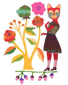 cat in a dress with a large bouquet of flowers Monika Forsberg - walkyland