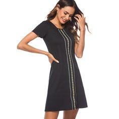 fd87ef13779 Хороший-навсегда Для женщин повседневные летние шорты рукав черный работа  Бизнес свободные прямые Цельнокройное платье
